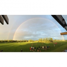 Double rainbow post storm at the Regina Rugby Club! 🌈
